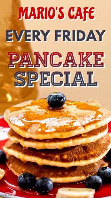 Breakfast Pancake Instagram Video Template Digital Display (9:16)