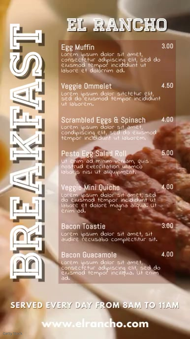Breakfast Restaurant Cafe Bar Menu Template
