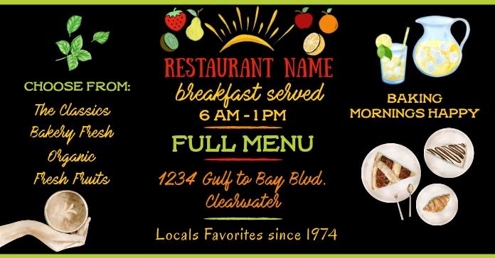 Breakfast Restaurant Facebook Advert Size template