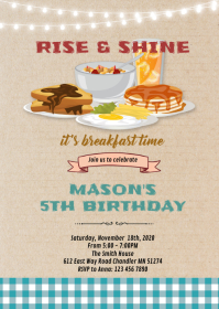 Breakfast rise and shine party invitation A6 template