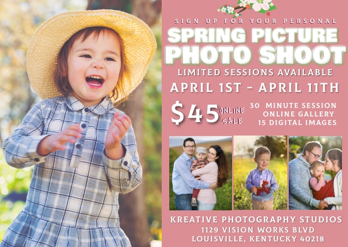 Spring time picture photo shoot Postal template