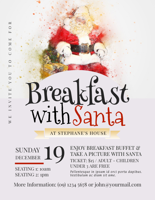 breakfast with santa flyer template postermywall