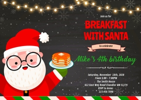 Breakfast with Santa party invitation A6 template