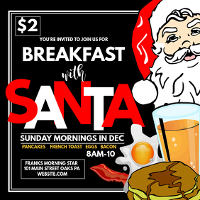 Breakfast with santa Instagram Post template
