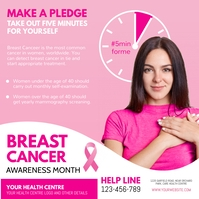 breast cancer, pink ribbon day Publicación de Instagram template