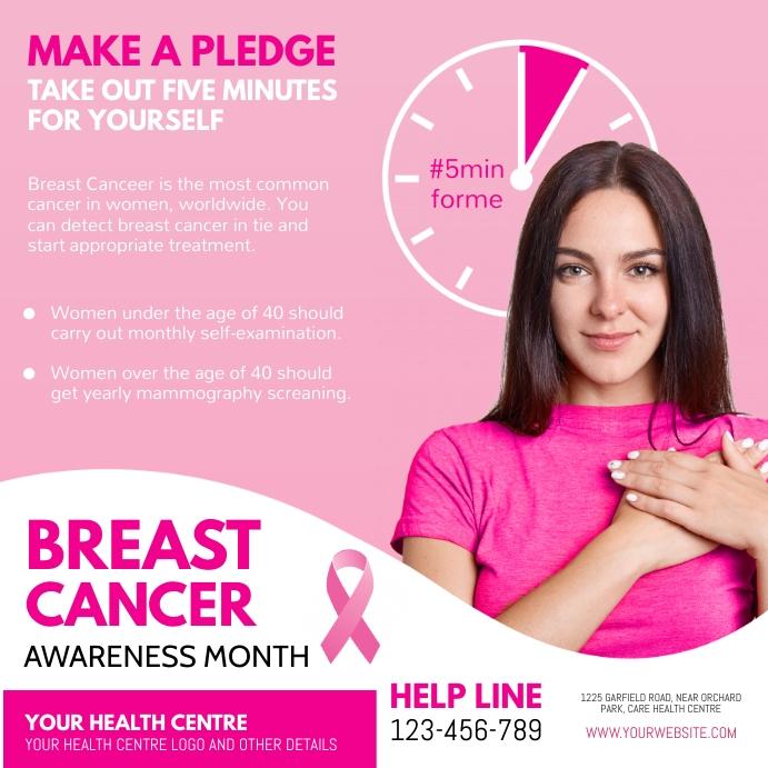 breast cancer, pink ribbon day Publicación de Instagram template