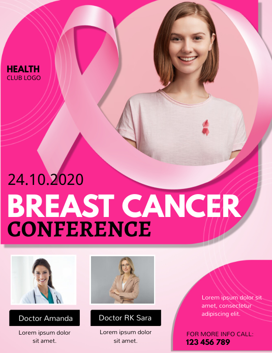 breast cancer, pink ribbon day Flyer (Letter pang-US) template