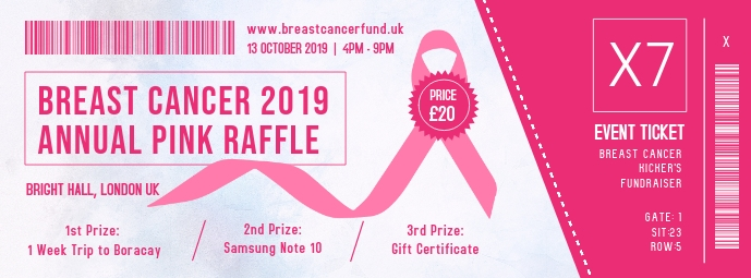Breast Cancer 2019 Annual Pink Raffle Cover na Larawan ng Facebook template