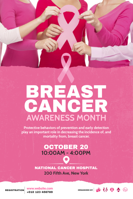 Breast Cancer Awareness Campaign Poster โปสเตอร์ template