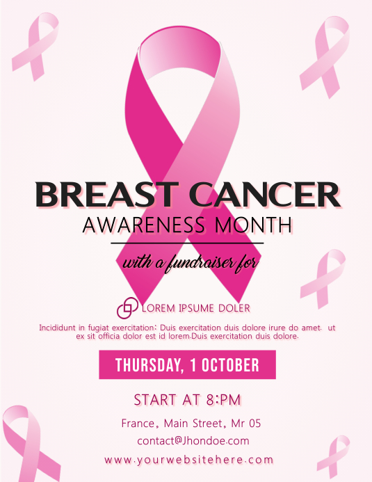 Breast Cancer Awareness Month Flyer Template Folheto (US Letter)