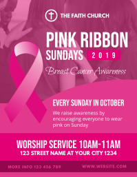 Breast Cancer Awareness Pink Ribbon Church Fl
