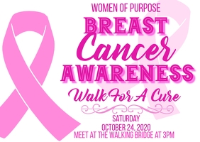 breast cancer awareness walk for the cure Postkarte template
