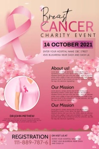 Breast cancer charity Poster template