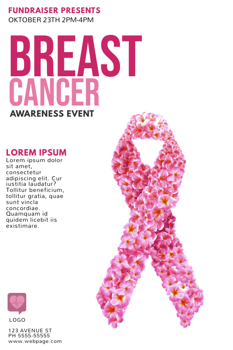 Breast Cancer Event Flyer Template Póster
