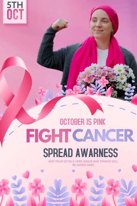 breast cancer flyers,event flyer Plakkaat template
