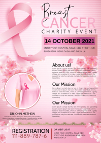 Breast cancer fundriser flyer A4 template
