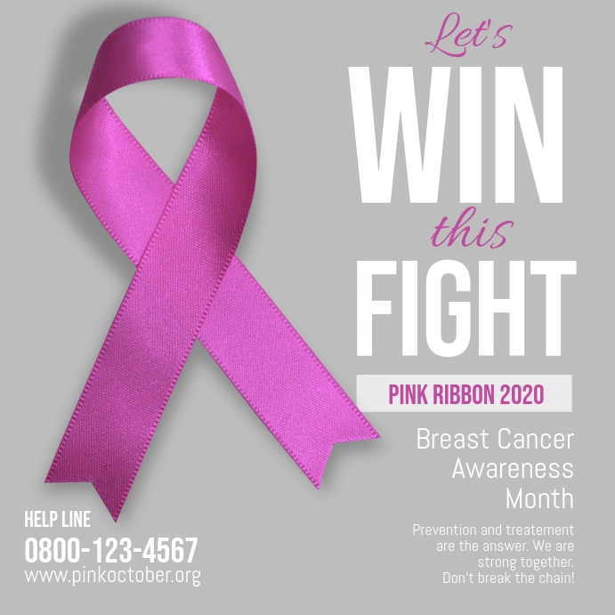 Breast cancer let's win this fight october โพสต์บน Instagram template