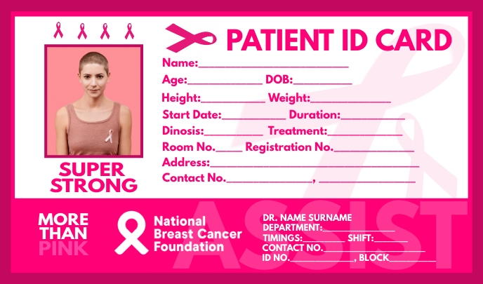 Breast Cancer Patient ID Card Template Merker