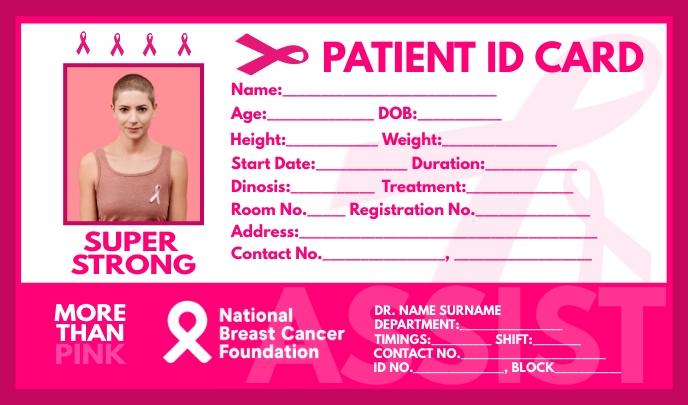 Breast Cancer Patient ID Card Template Etiqueta