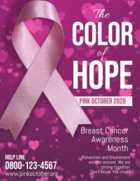 Breast Cancer Pink October Flyer Video Ulotka (US Letter) template