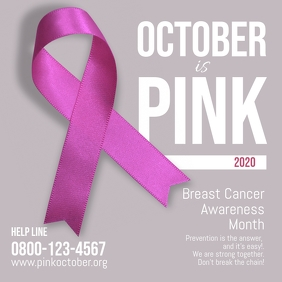 Breast Cancer Pink October Square ad Instagram-bericht template
