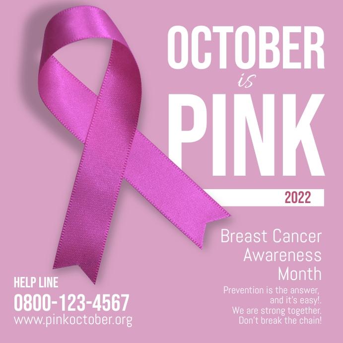 Breast Cancer Pink October Square ad โพสต์บน Instagram template