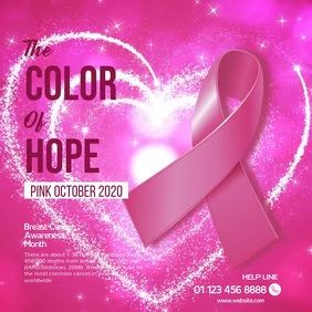 Breast Cancer Pink October Square Video Instagram Post template