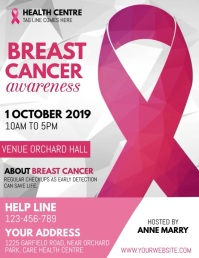 breast cancer video, pink ribbon day Ulotka (US Letter) template