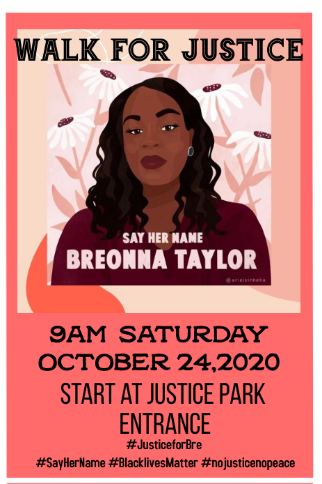 Breonna Taylor walk for justice Pinterest-afbeelding template