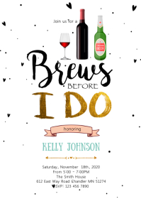 Brew before I do party invitation A6 template