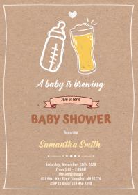 Brewing shower baby invitation