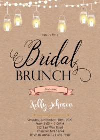 Bridal brunch shower invitation A6 template