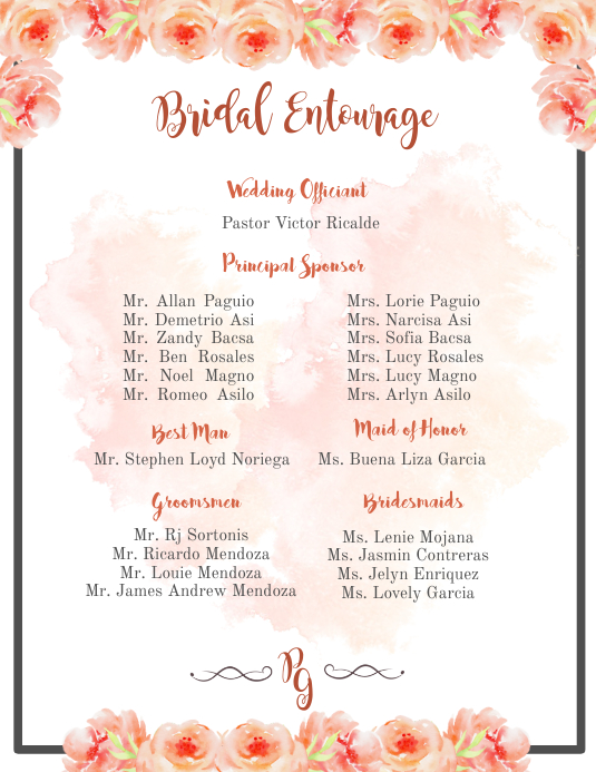 Bridal Entourage Template Postermywall