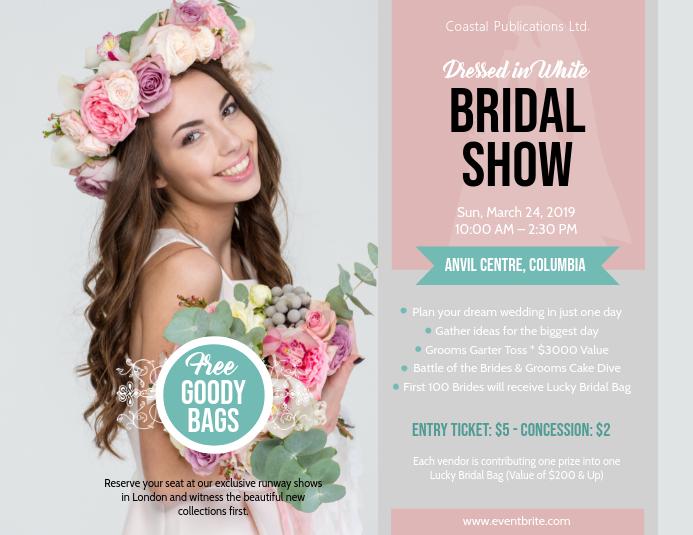 Bridal Show Wedding Fair Landscape Flyer Pamflet (Letter AS) template