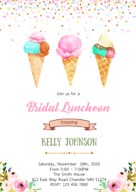 Bridal shower ice cream theme invitation A6 template