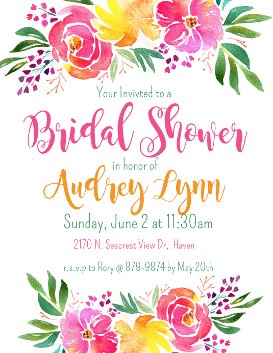 bridal shower invitation customize template