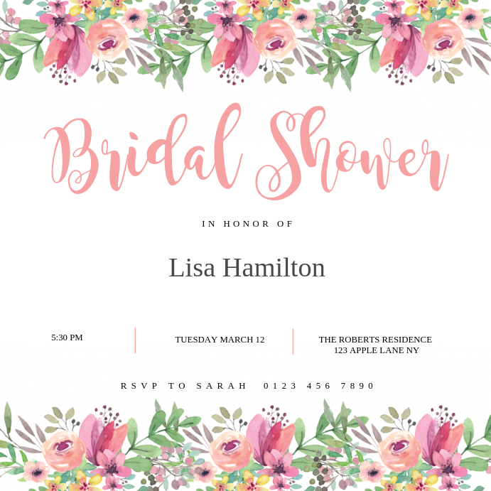 Bridal Shower Invitation Card Template Postermywall