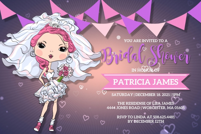 Bridal Shower Invitation Etiket template