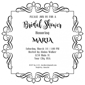 Bridal Shower Invitation ปกอัลบั้ม template