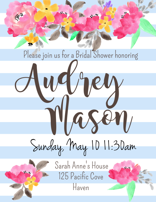 Bridal Shower Invite Flyer (US Letter) template