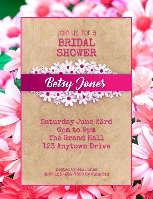 Bridal Shower party flyer ใบปลิว (US Letter) template
