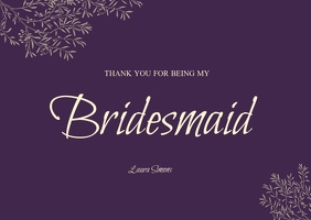 BRIDESMAID wedding thank you card