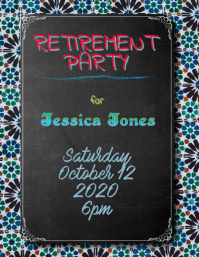 Chalkboard Retirement Party Announcement Flyer