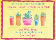 Bright Cheerful Funny Pretty Get Well Card Postal template