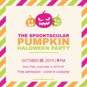 Bright Halloween Costume Party Square Image Invite Template