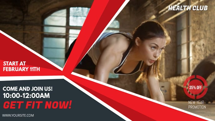 Bright Red Gym/Fitness Facebook Cover