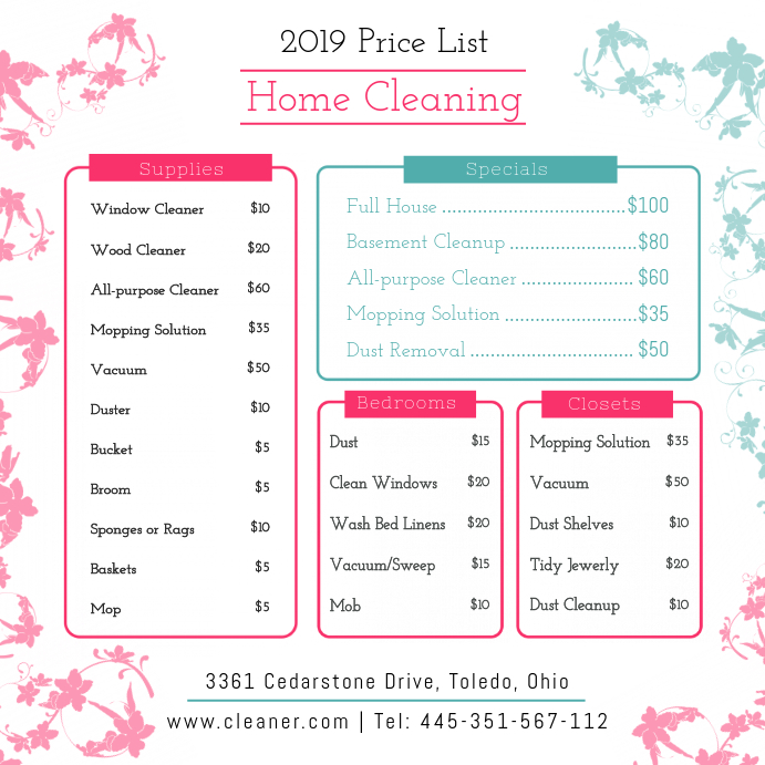 Bright Spring Cleaning Price List Design