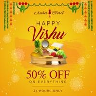 Bright yellow happy vishu Instagram post template