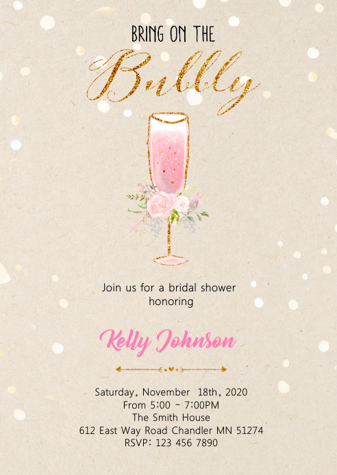 Bring on the bubbly bridal shower card A6 template