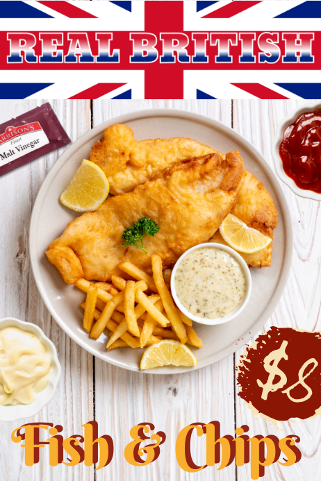 British Fish & Chips Special Poster Template